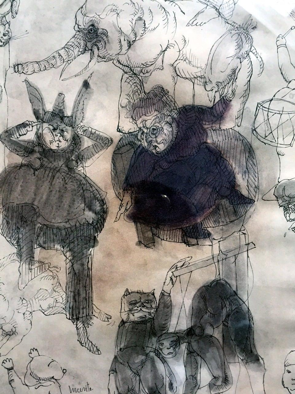 Framed Drawing by Mexican Artist José Luis Cuevas In Good Condition For Sale In Atlanta, GA