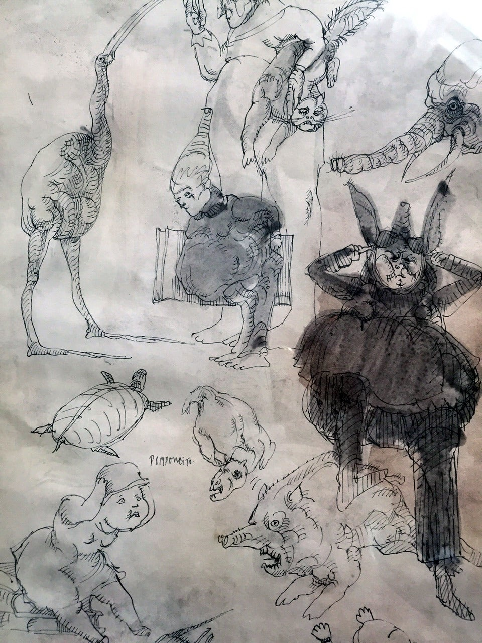 Mid-20th Century Framed Drawing by Mexican Artist José Luis Cuevas For Sale