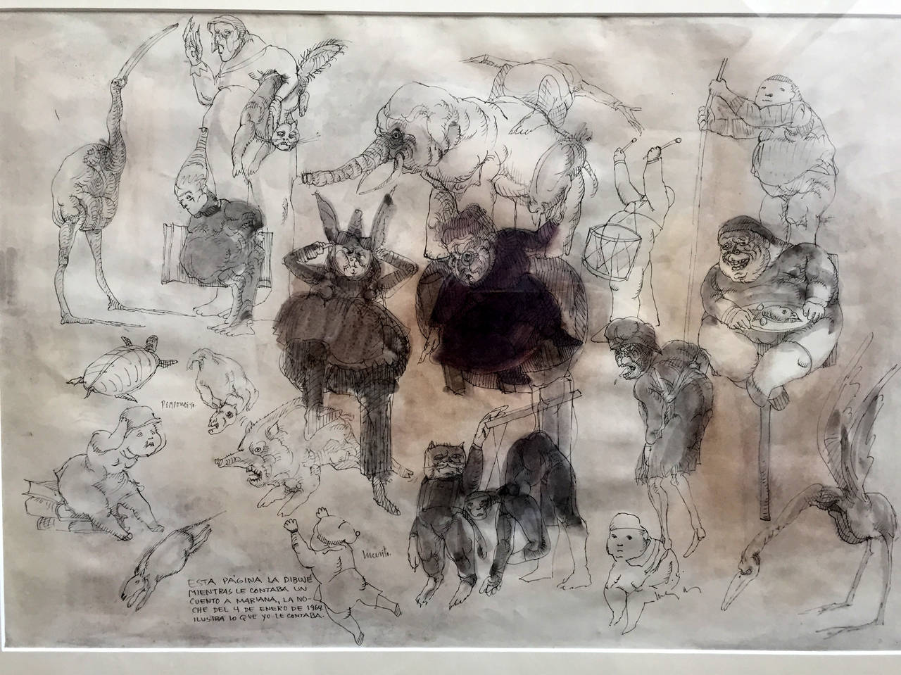 Ink and watercolor on Paper by José Luis Cuevas (Mexican, b.1934). Featuring characters from a story line inscribed lower left as the following (see detailed image)