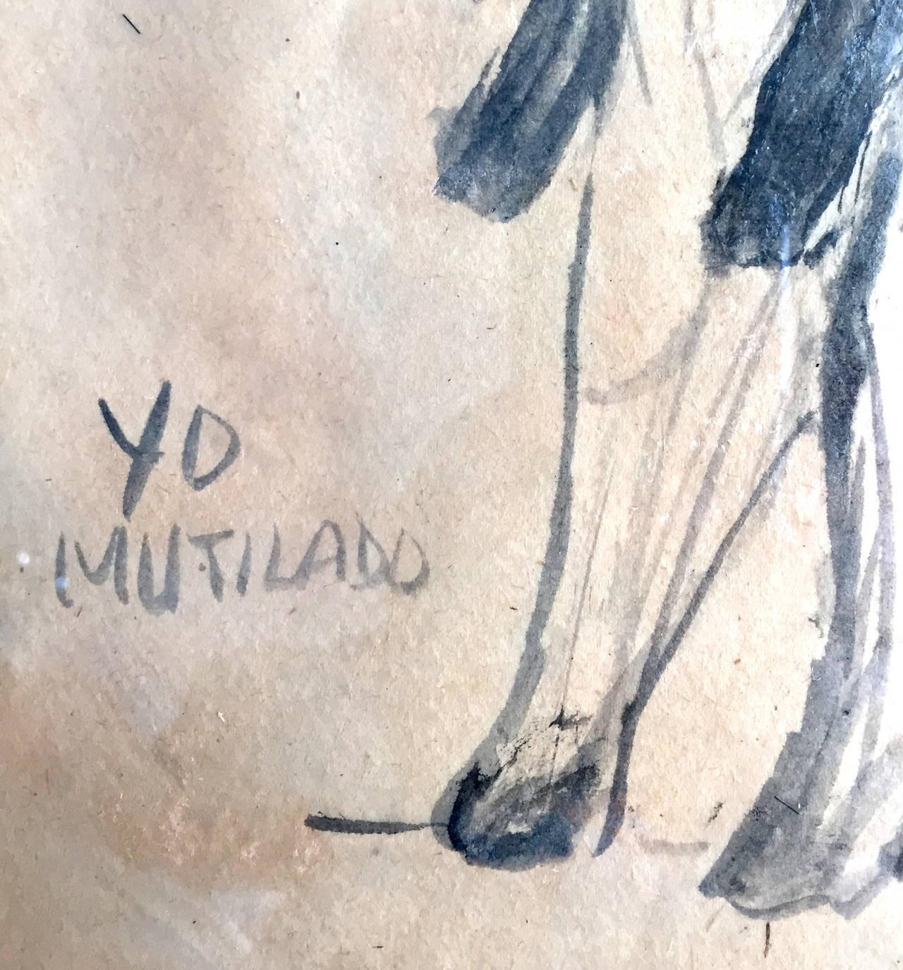 Modern Framed Drawing by Mexican Artist José Luis Cuevas For Sale