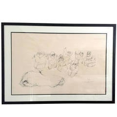 Framed Drawing by Mexican Artist Jose L. Cuevas