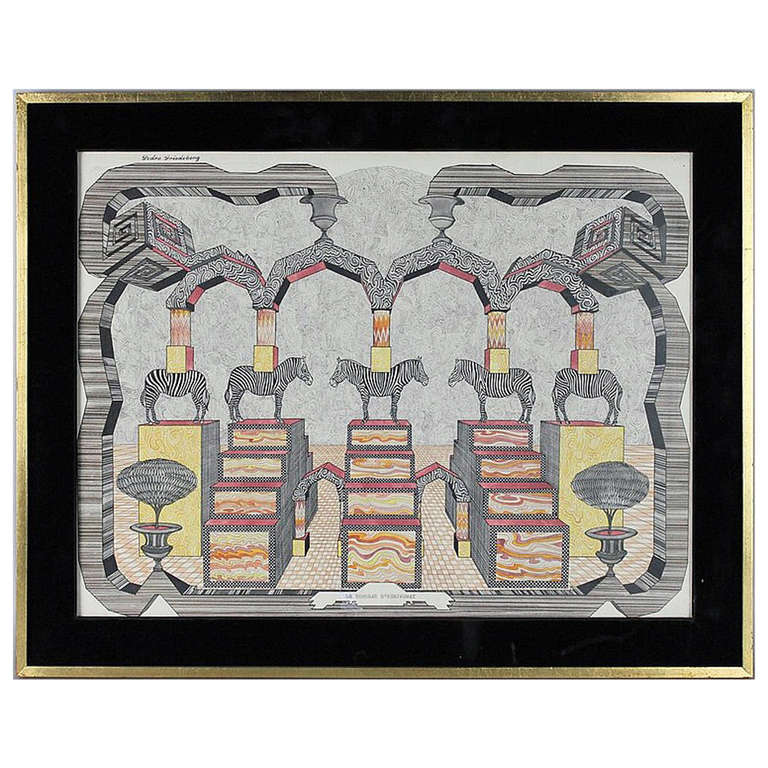 Framed Surrealistic Drawing by Pedro Friedeberg