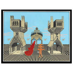Framed Surrealistic Painting by Pedro Friedeberg