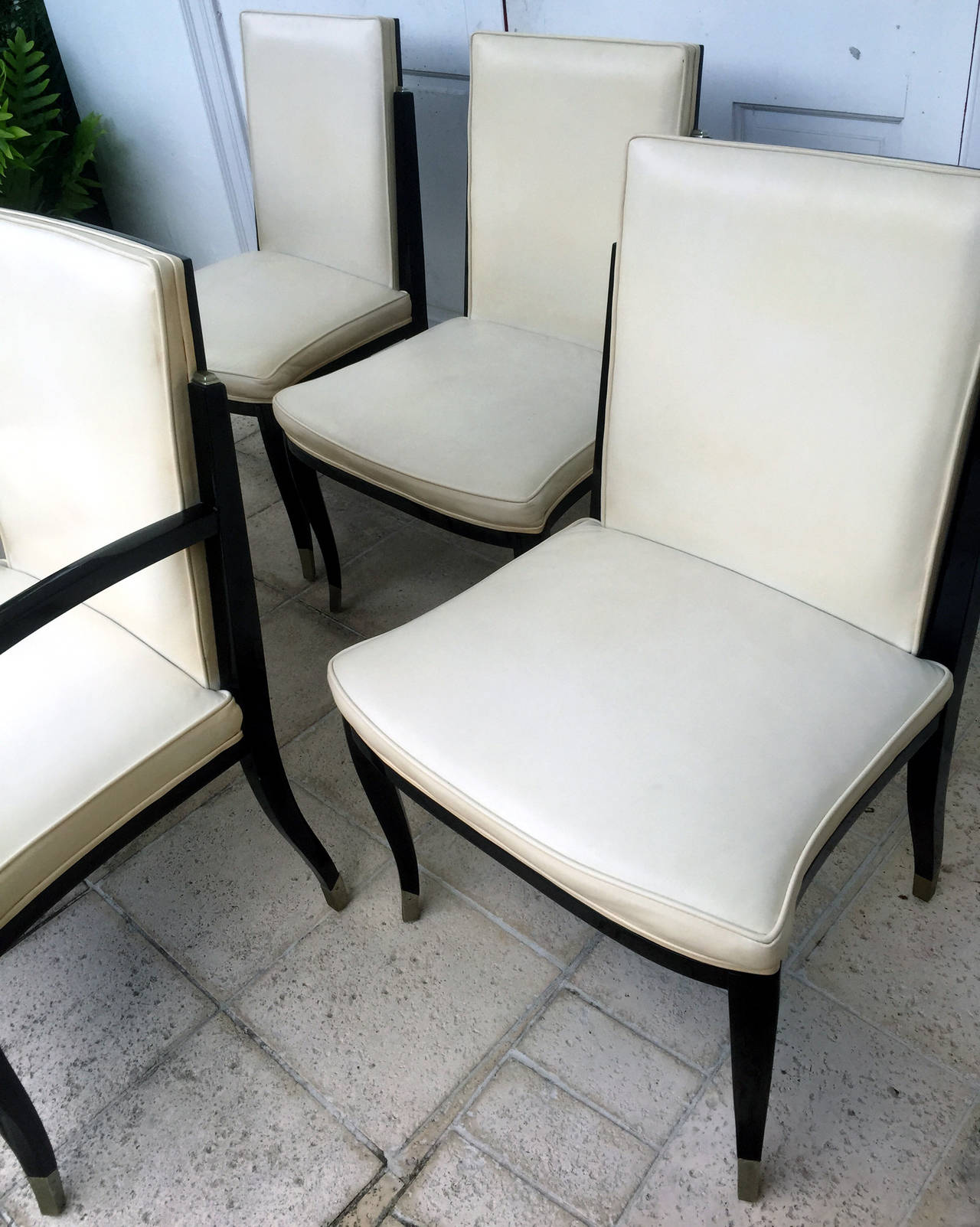 A set of six Art Deco Revival chairs by Interiors Crafts In Good Condition For Sale In Atlanta, GA