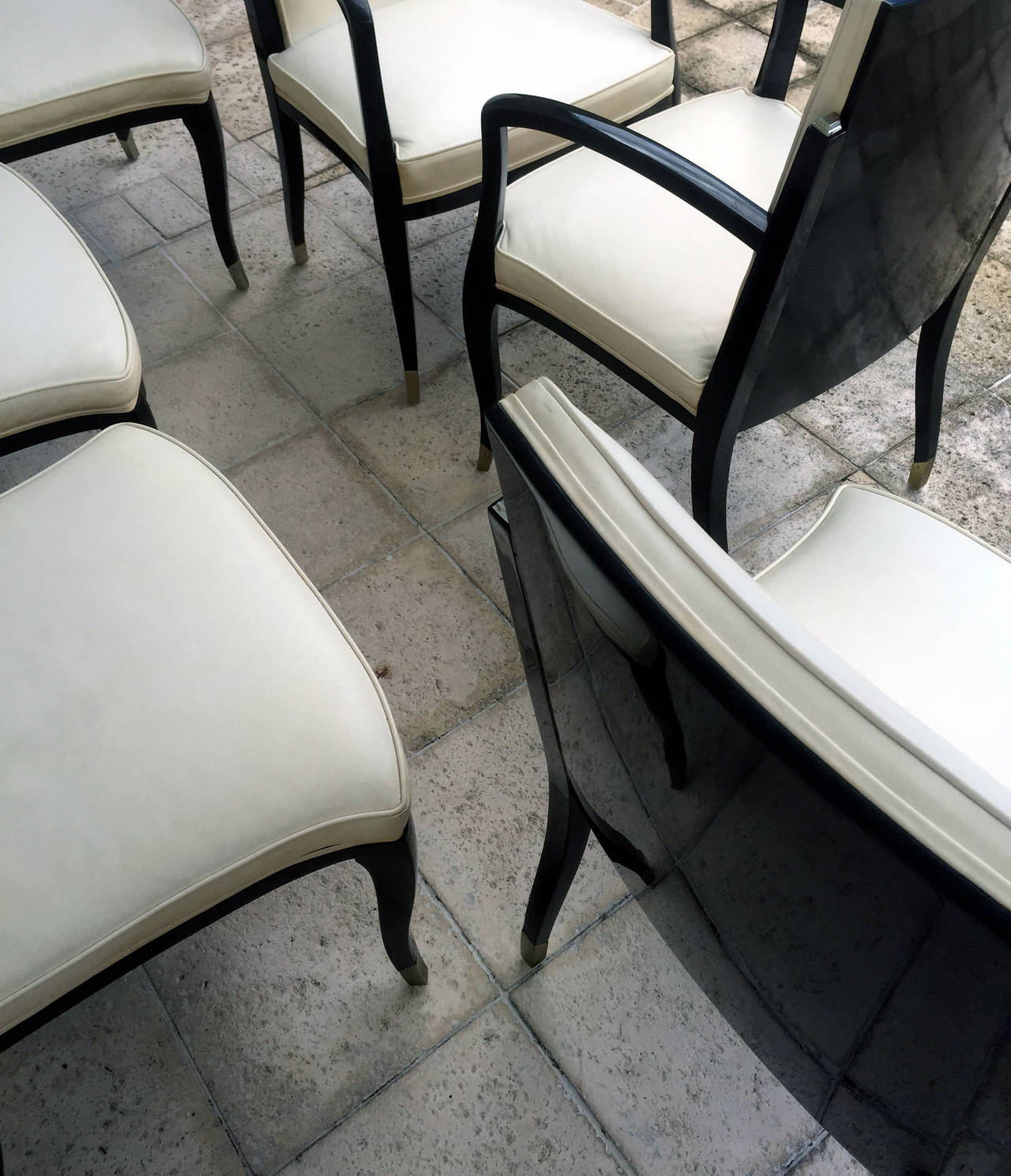 Late 20th Century A set of six Art Deco Revival chairs by Interiors Crafts For Sale