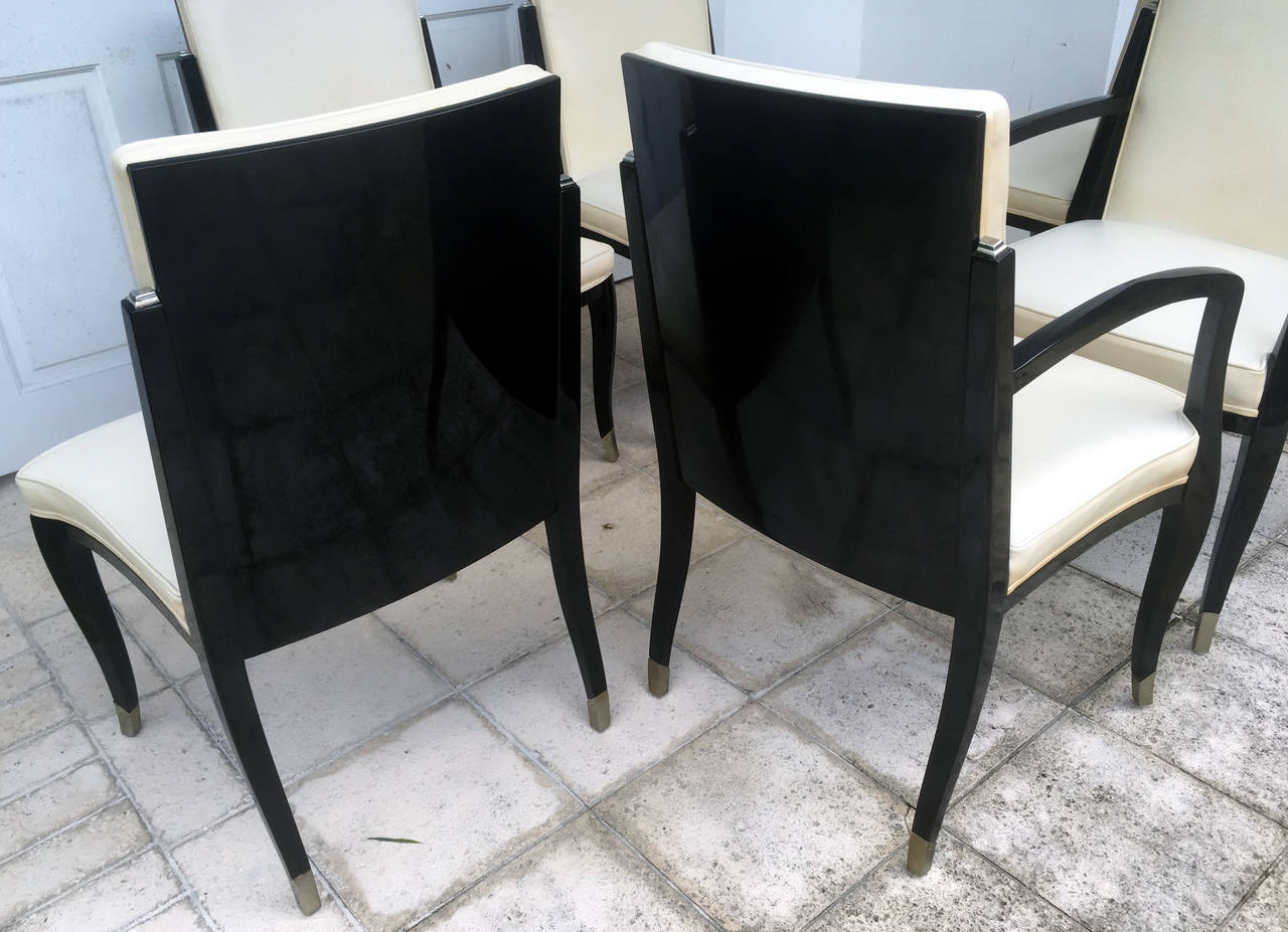 American A set of six Art Deco Revival chairs by Interiors Crafts For Sale