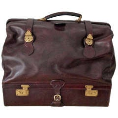 A Italian vintage leather luggage bag Bottega Veneta