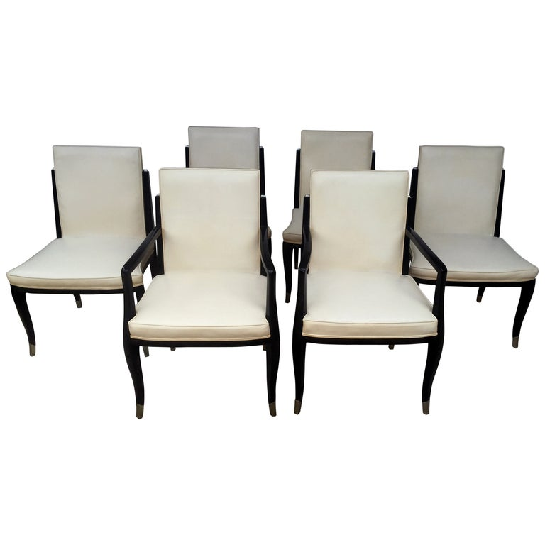 A set of six Art Deco Revival chairs by Interiors Crafts For Sale