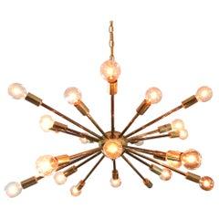 Vintage American Midcentury Brass Sputnik Chandelier