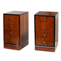 Pair American Art Deco Streamline Nightstand Cabinets