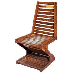 A rare zig zag cocobolo wood chair Don Shoemaker