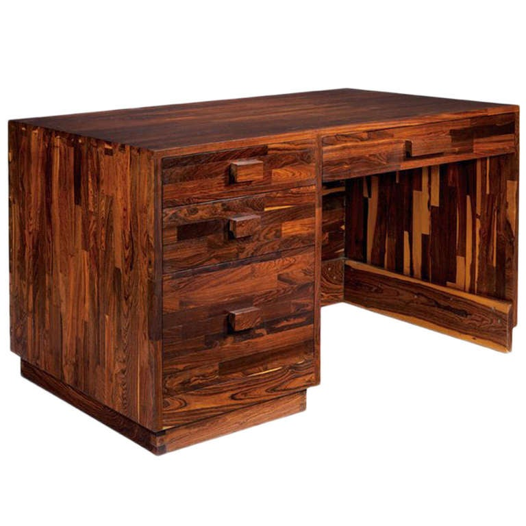 Rare Cocobolo Wood desk Don Shoemaker at 1stdibs
