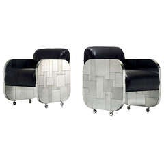 A Rare Pair of Cityscape Patchwork Lounge Chairs Paul Evans