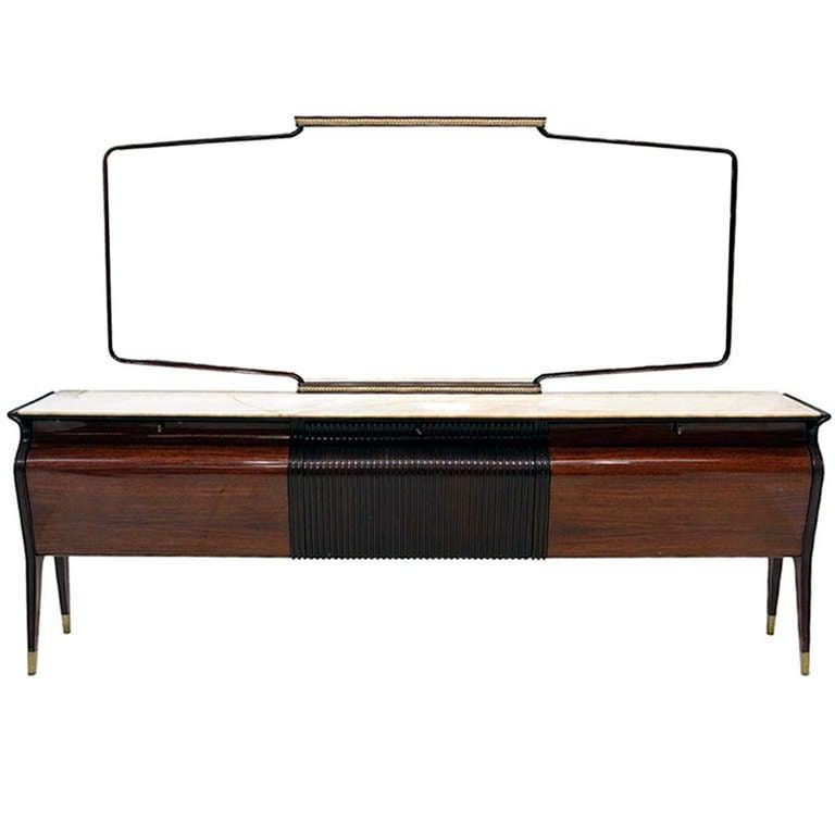 Large Italian sideboard credenza with mirror Osvaldo Borsani