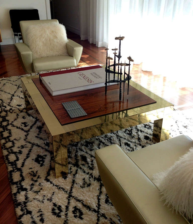 Mid-Century Modern Brass and rosewood cityscape coffee table Paul Evans For Sale