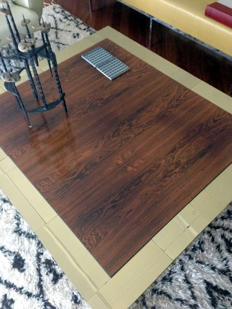 American Brass and rosewood cityscape coffee table Paul Evans For Sale