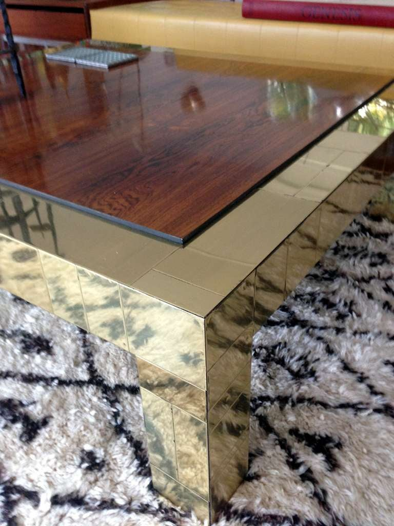 Brass and rosewood cityscape coffee table Paul Evans In Good Condition For Sale In North Miami, FL