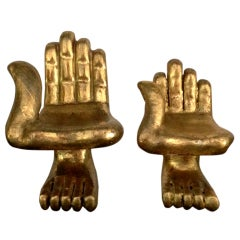 Two Small Gilt Hand Foot Chair Sculptures Pedro Friedeberg