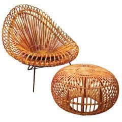 Italian lounge chair and ottoman Franco Albini and Franca Helg