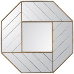Brass trimmed multiple panel wall octagon mirror