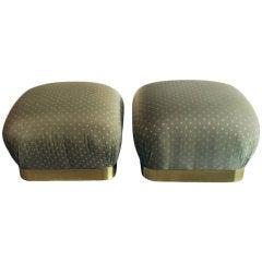 Pair Karl Springer brass trimmed stools poufs on castors
