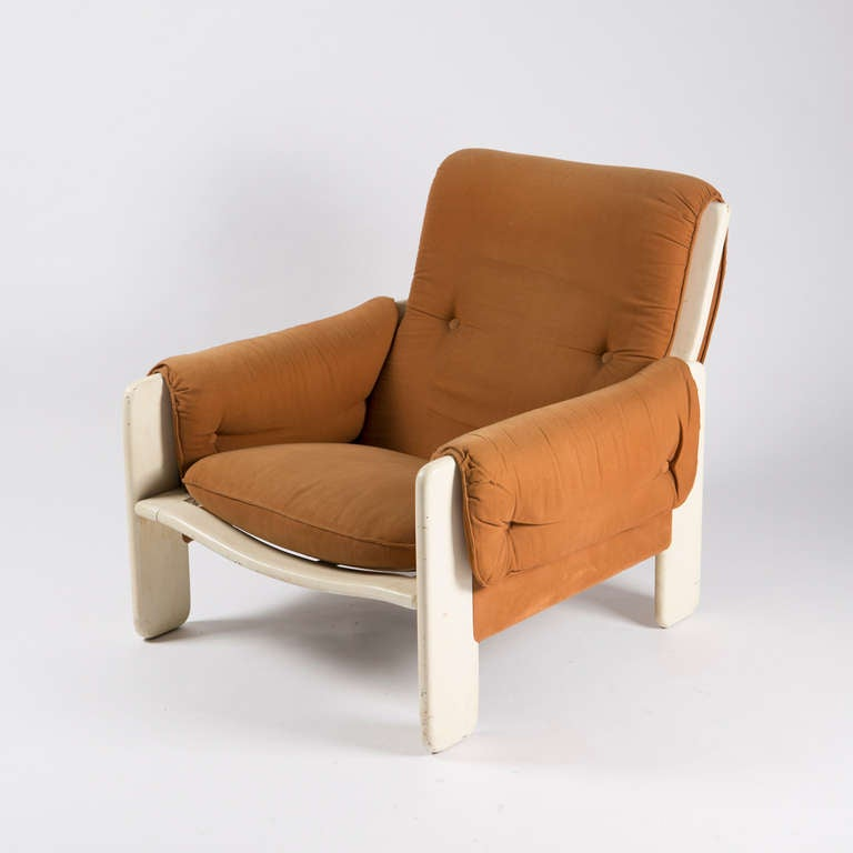 "Lounge chair model ""Sporting"" by Titina Ammannati and Giampiero Vitelli for Rossi di Albizzate.  Lacquered wood frame and cognac cotton upholstery."