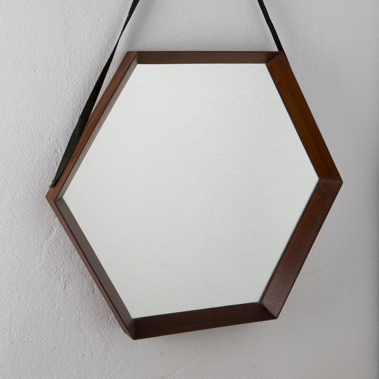 Wall art decor bathroom - Pair Of Hexagonal Teak Mirrors At 1stdibs