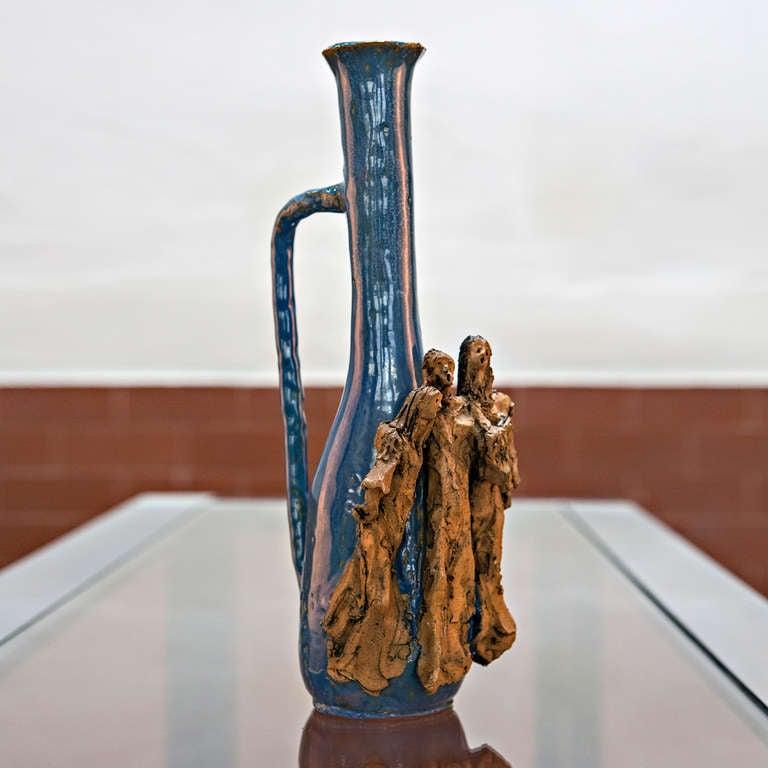 Italian Ceramic Bottle by Renato Bassoli For Sale