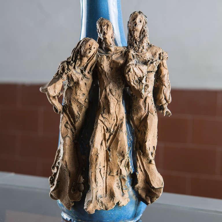 Mid-20th Century Ceramic Bottle by Renato Bassoli For Sale