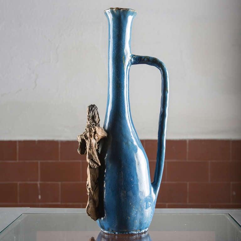 Ceramic Bottle by Renato Bassoli In Good Condition For Sale In Milan, IT