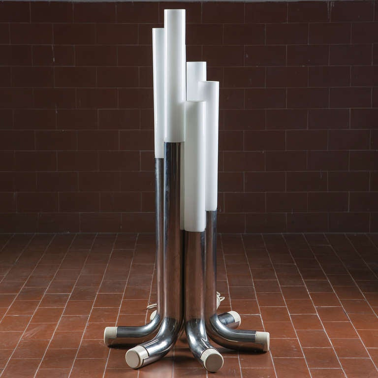 Set of two quott448quot floor lamps by luci milano for sale at for Milano chrome floor lamp
