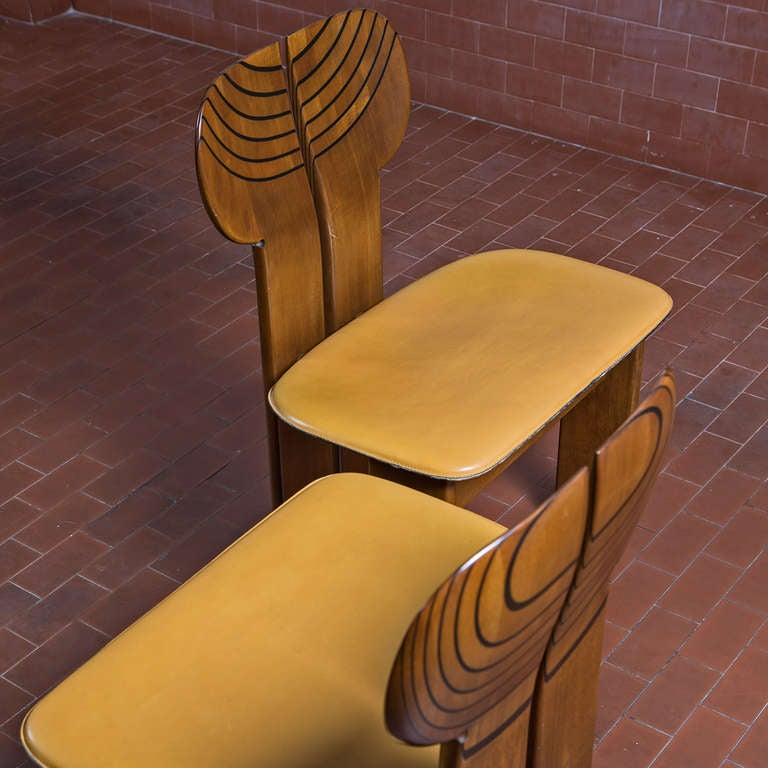 """Italian Leather Furniture South Africa: Set Of Six """"Africa"""" Chairs From """"Artona"""" Collection By"""