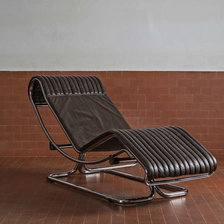 Chaise longue by guido faleschini for sale at 1stdibs for Brown leather chaise longue