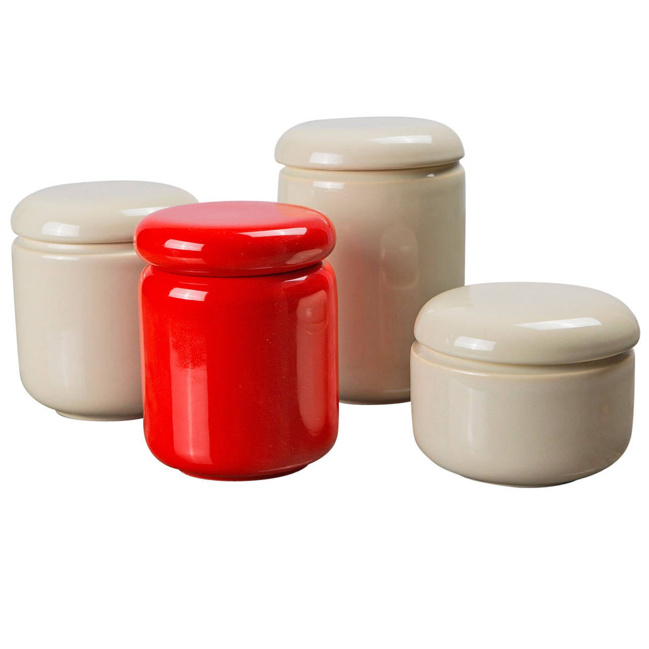 Set of Four Glazed Ceramic Boxes by Pino Spagnolo for Sicart