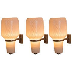 Set of Three Wall Lights by Massimo Vignelli for Venini