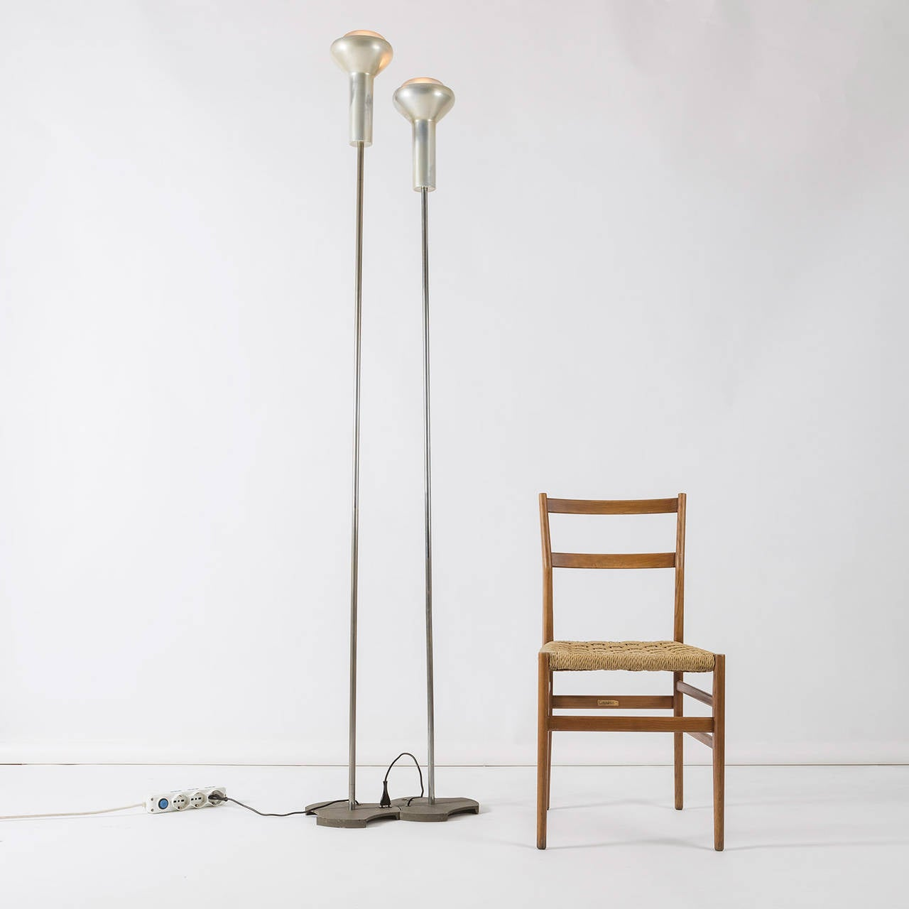 Aluminum Pair of Floor Lamps by Gino Sarfatti for Arteluce For Sale