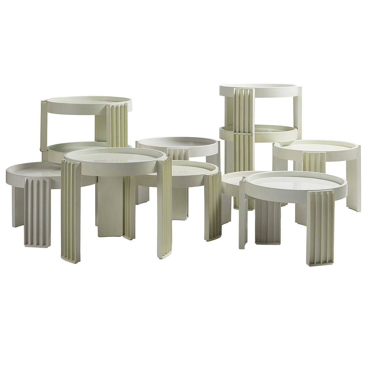 """Set of 11 """"Marema"""" Stacking Tables by Gianfranco Frattini for Cassina"""