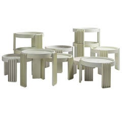 "Set of 11 ""Marema"" Stacking Tables by Gianfranco Frattini for Cassina"