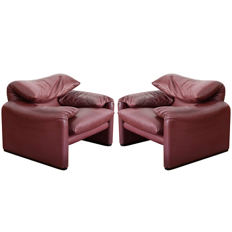 Pair Maralunga Armchairs with Ottoman by Vico Magistretti