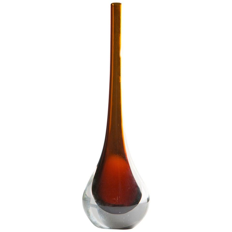 Sommerso Murano Glass Vase