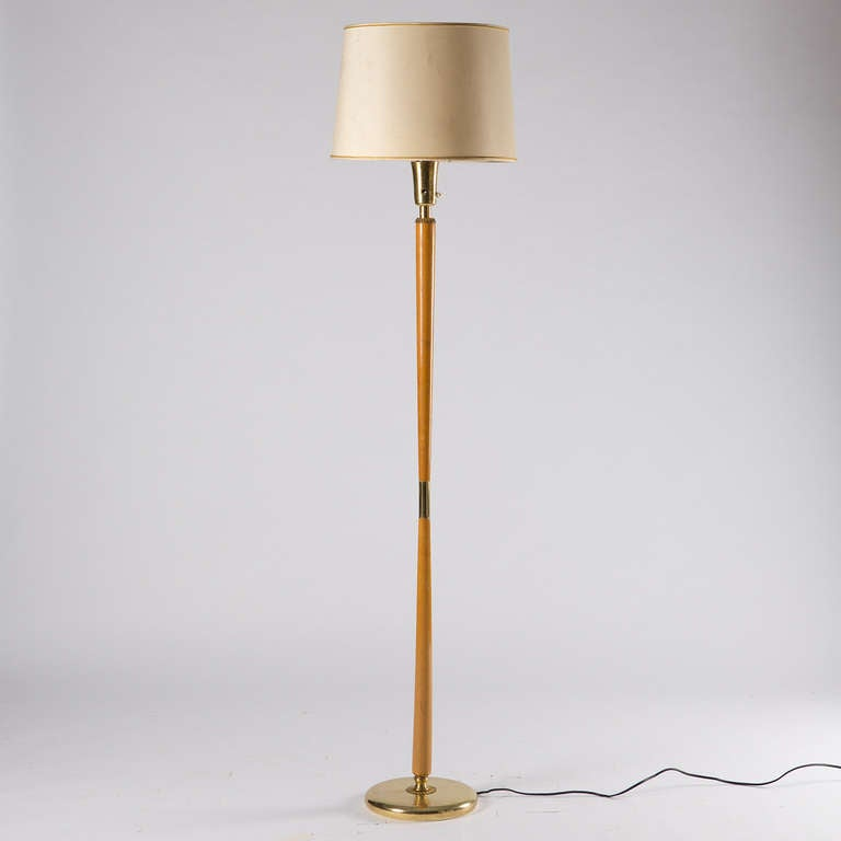 Italian brass and wood floor lamp for sale at 1stdibs for Wooden floor lamp for sale