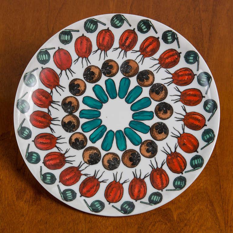 """Set  of 6 """"Giostra di Frutta"""" Dinner Plates By Piero Fornasetti 7"""