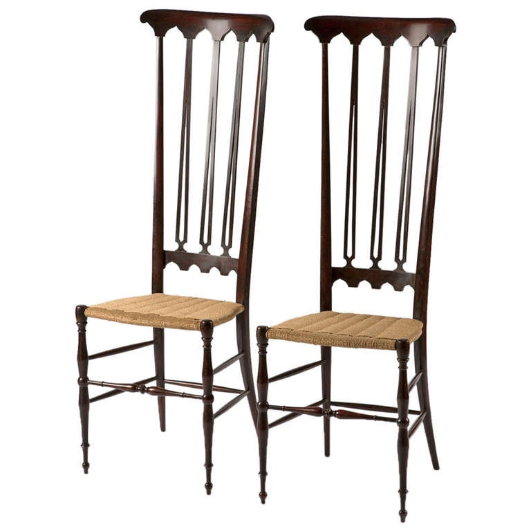 Pair of Italian Chiavari High Back Chairs 1