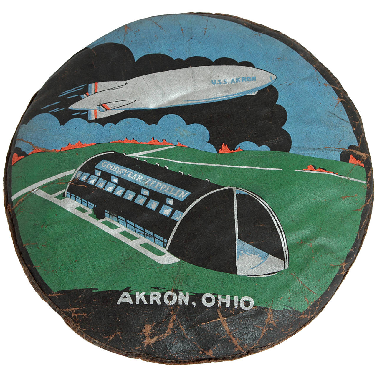 Rare U.S.S. Akron Goodyear Zeppelin Cushion in Art Deco Style For Sale