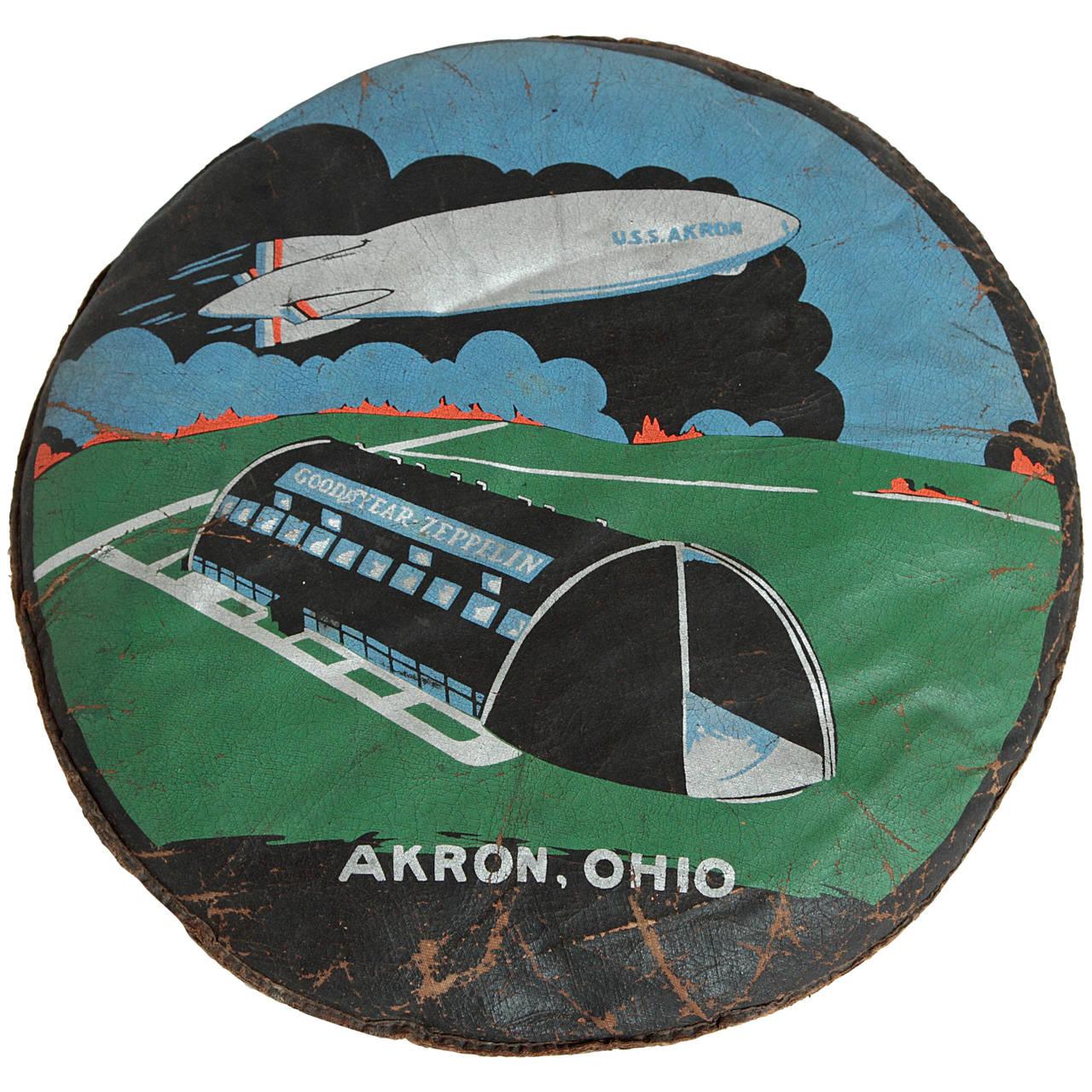 Rare U.S.S. Akron Goodyear Zeppelin Cushion in Art Deco Style 1