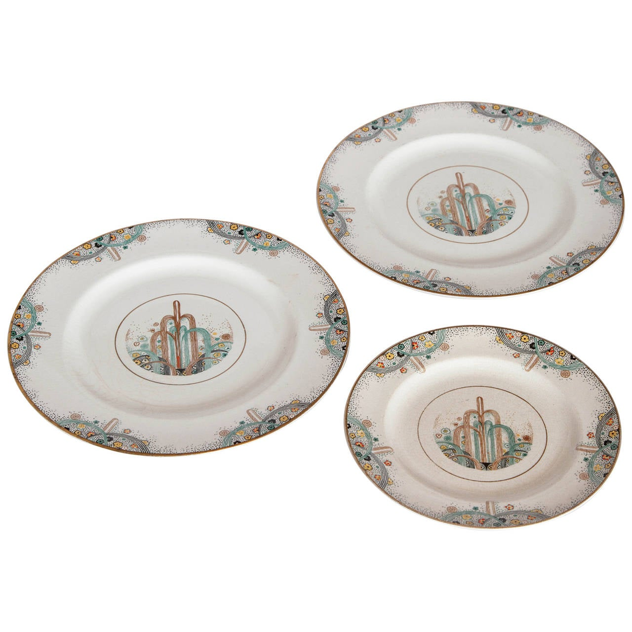 Trio 1925 Les Fountains Early Art Deco Paris Exhibition Plates  sc 1 st  1stDibs & Havilland Dinerware