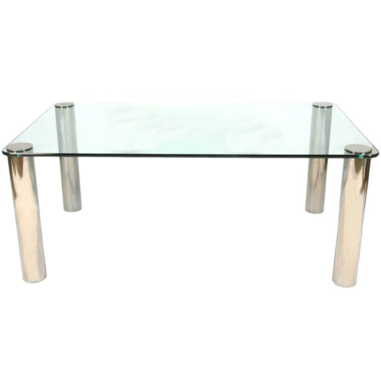 Mid Century Modern Pace Collection Glass And Chrome Dining