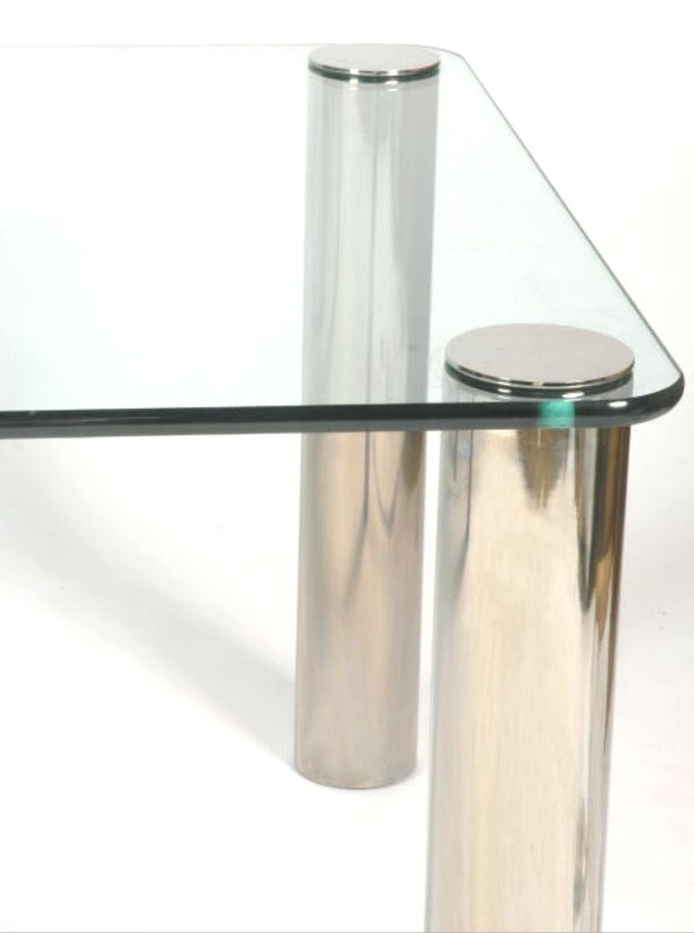 Mid century modern pace collection glass and chrome dining for Glass and chrome dining table