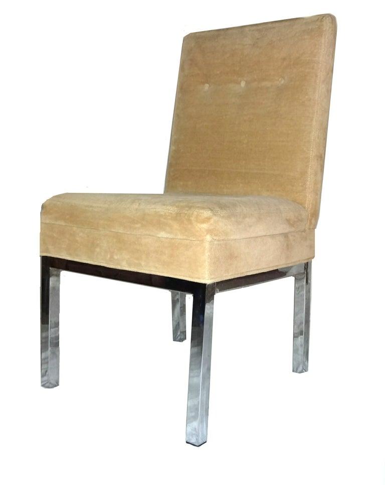 Mid century modern chrome dining chairs milo baughman at for Modern chrome dining chairs