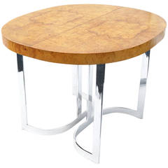Burl Wood Chrome Dining Table for Small Spaces in the Manner of Milo Baughman